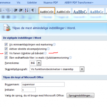 Brug MS Word automatisk