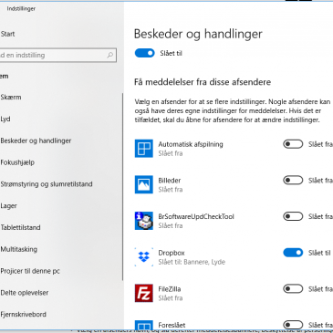 Deaktiver Windows 10 beskeder