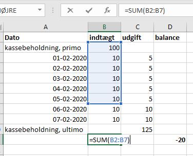 Excel 3: Kontrol af budget og lignende