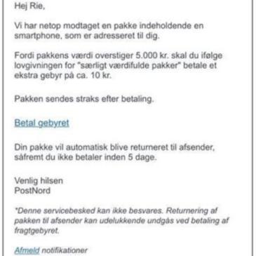 Falske pakke-mails